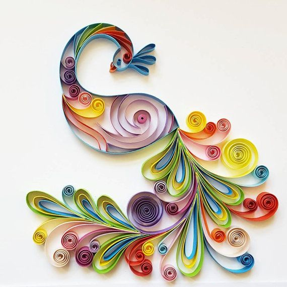 Quilled paper art colourful peacock handmade by gericards also rh pinterest