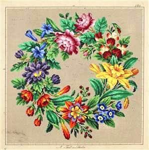 Berlin Woolwork Antique Multi-floral Wreath 1 Counted Cross Stitch ... 3e5be9230ba56