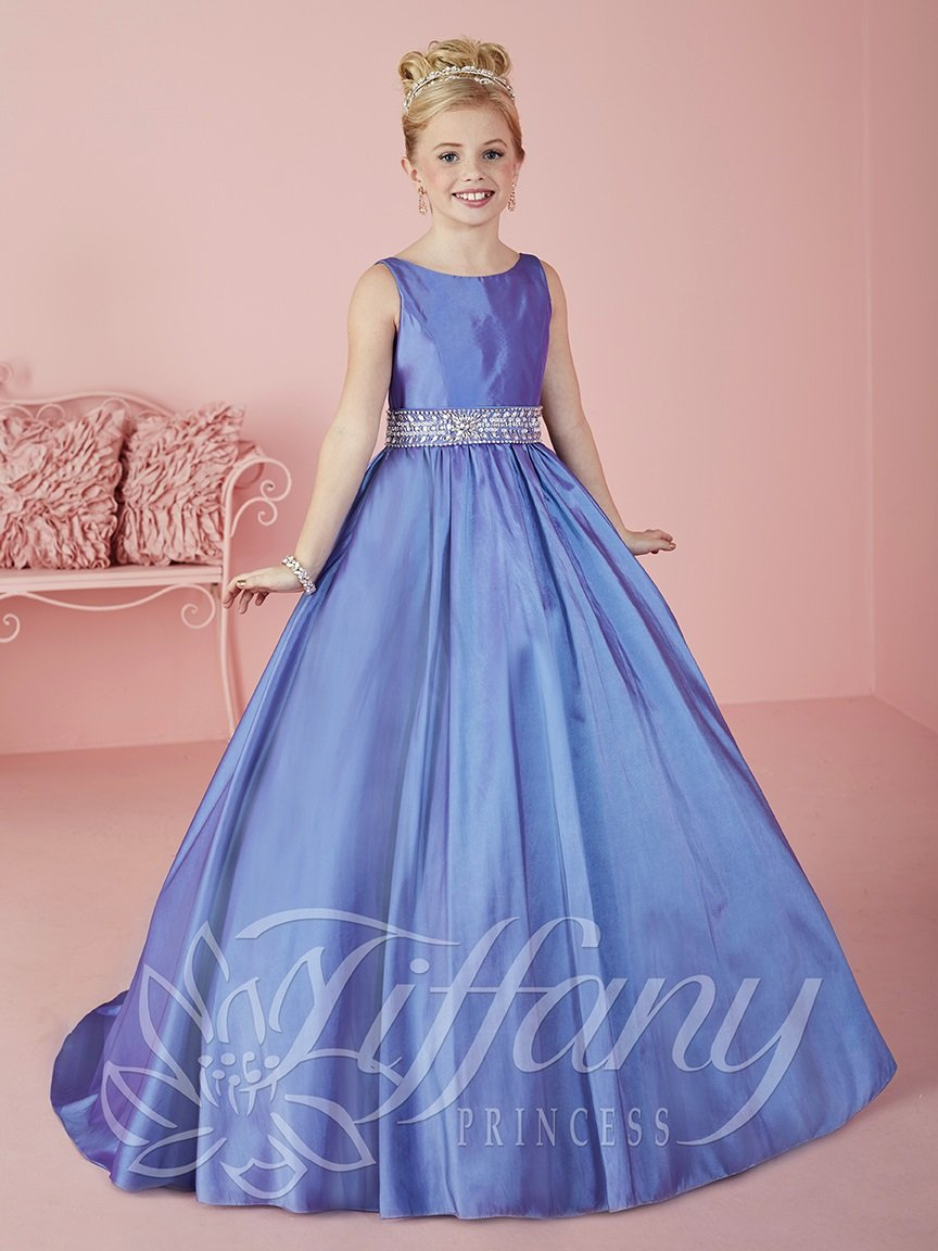 Girls Long Beaded Taffeta Dress by Tiffany Princess 13464 | Vestidos ...
