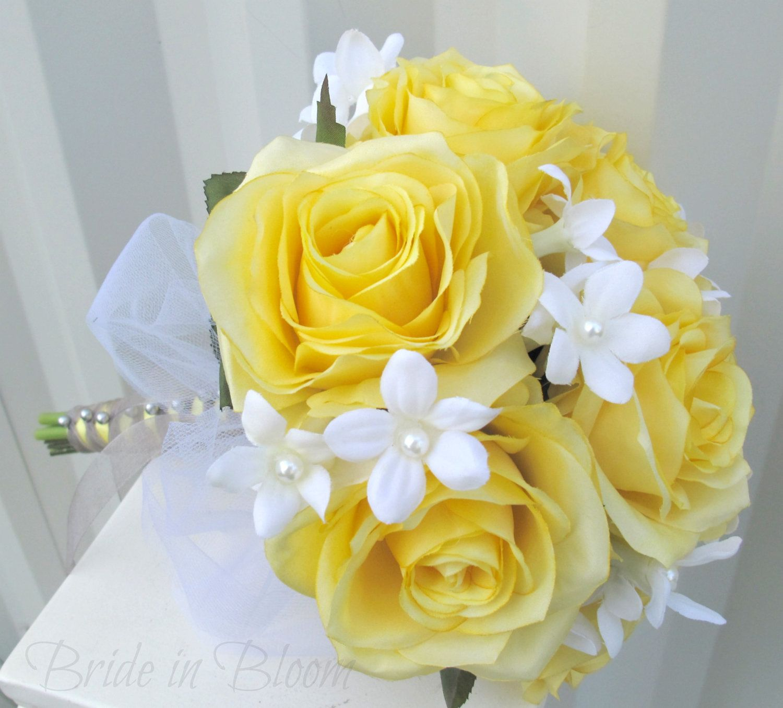 silk wedding bouquets Silk Wedding bouquet Yellow rose Bridal