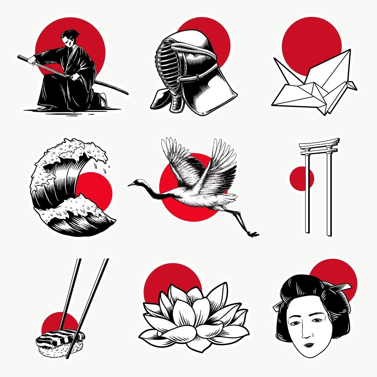 Traditional Japanese Sticker Design Elements Set Free Image By Rawpixel Com Tvzsu In 2020 Japanese Tattoo Art Japanese Illustration Japanese Tattoo