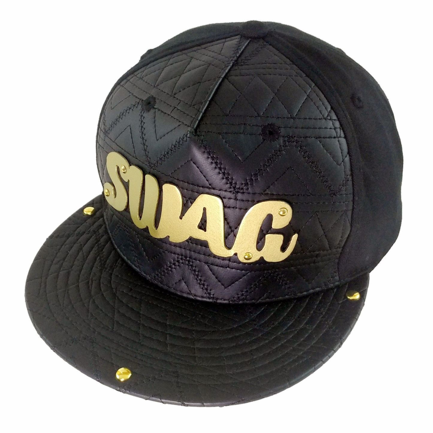35e416e6fd0ea ... reduced swag gold or silver metal plate black mixed leather snapback  baseball cap ff1e1 ae7af