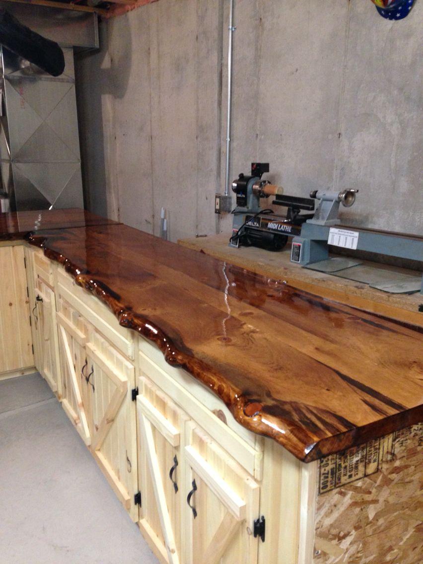 whitewash kitchen table modern pendant lighting for live edge pine slab counter tops | log cabin ideas ...