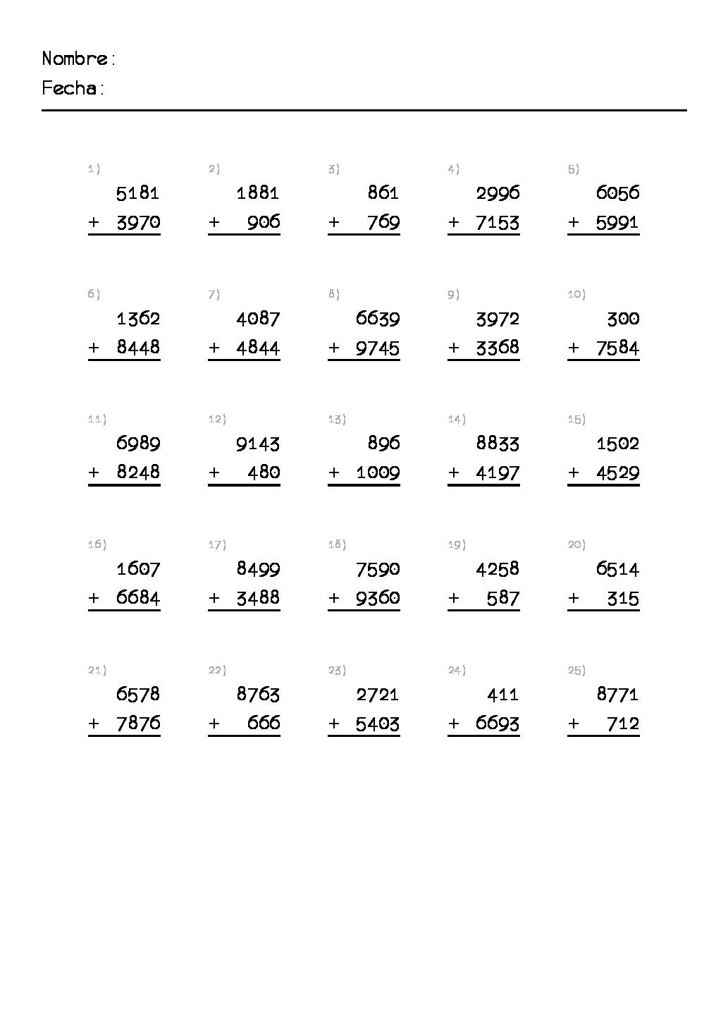 Ejercicios de matemáticas para primaria. Sumas. Para Imprimir ...