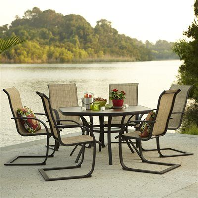 Garden Treasures Hayden Island 7 Piece Outdoor Dining Set Heavy Duty Steel Frames With A Brown Powder Coated