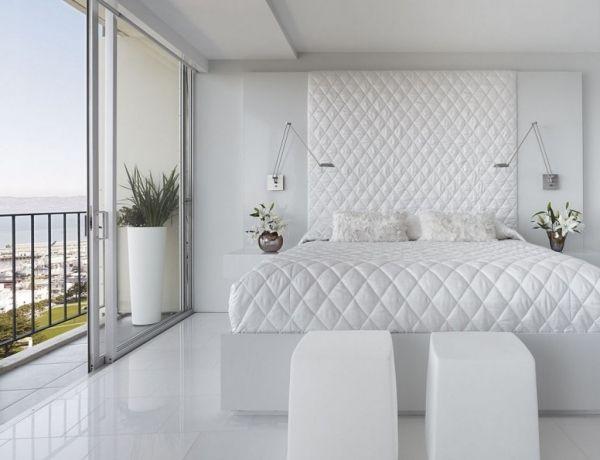 Schlafzimmer komplett in weiß rautenmuster bettdecke pflanzkübel ...