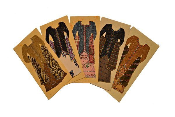 Hand-Made Cards – Package of 5 – Long sleeve dress with scarf  3.5″x7″ cards and envelopes  $15