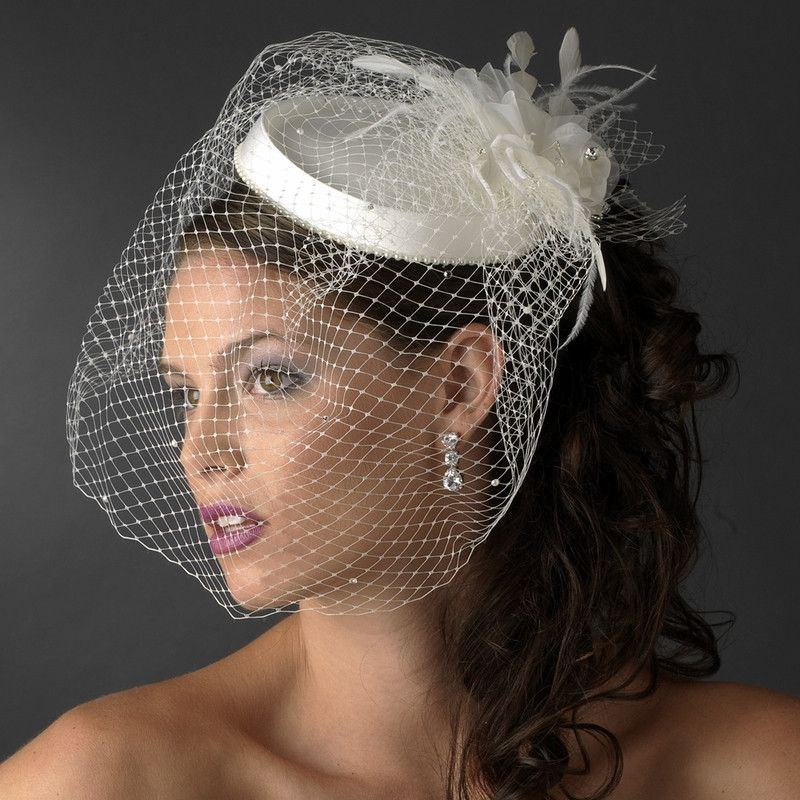 Vintage Couture Bridal Hat of Rhinestones & Tulle with Russian Blusher Veil