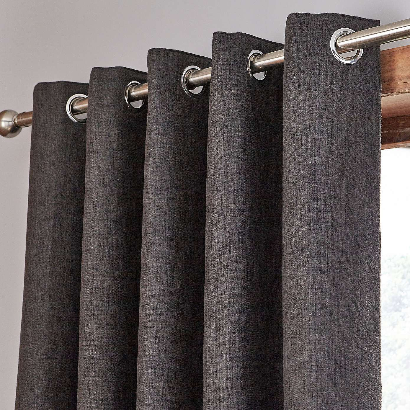 Harris Charcoal Thermal Eyelet Curtains Dunelm W 117cm 45 X D 182cm 72 50 00 For The Lounge Small Window Curtains Dunelm Curtains Charcoal