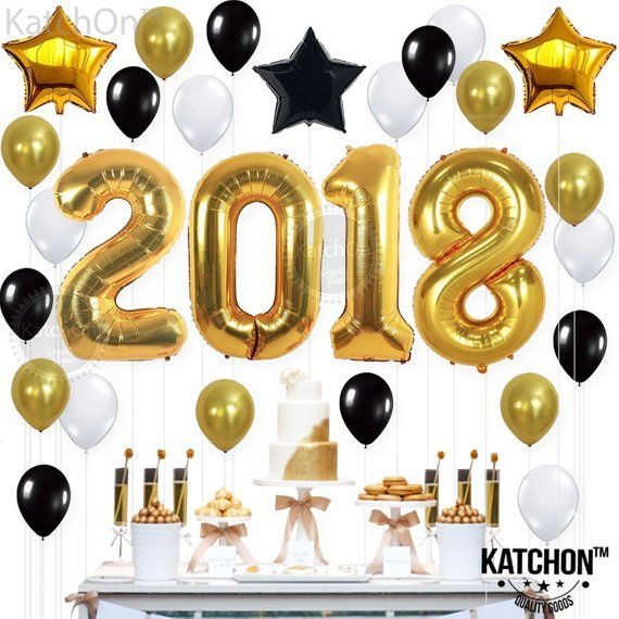2018 Balloons, Decorations - Large Size, Gold, Black & White Graduation Balloons | Great for Graduat