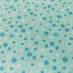 Coupon  de tissu coton liberty motif fleur bleu