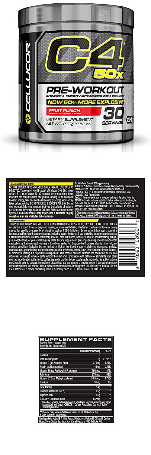 Cellucor C4 50X Pre Workout Supplement, High Energy Preworkout Powder with XCELICOR, 30 Servings, Fruit Punch 9.52oz