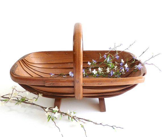 Vintage Garden Trug Vintage Gardening Basket Carryall