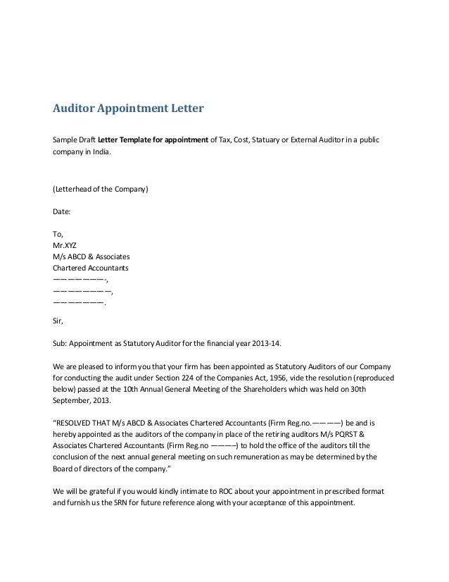 auditor appointment lettersample draft letter template for capital - sample letter of appointment