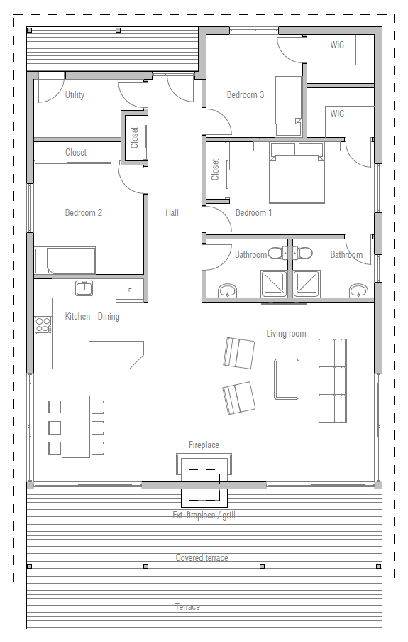 house design house plan ch384 10 bedroom 2 as master with utility as master - Utility Bath House Plans