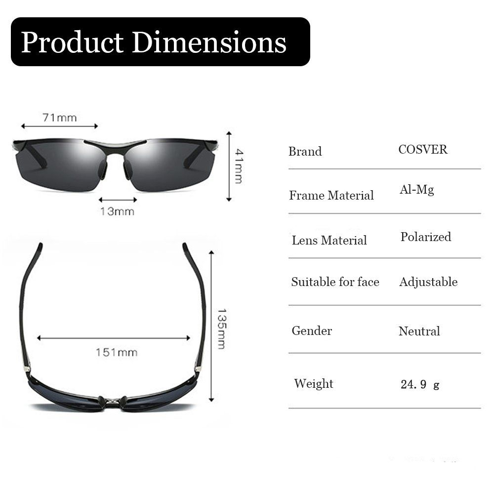 5d598d0fb4 Men Golf Clothing - COSVER Mens Sports Style Polarized Sunglasses for  Driving Cycling Running Fishing Golf Unbreakable Metal Frame AlMg Glasses  2578Gray ...
