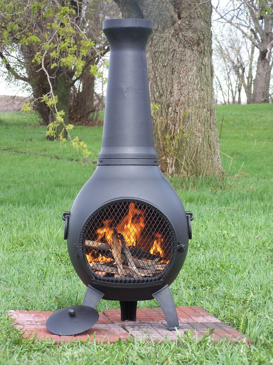 Amazon Com The Blue Rooster Cast Aluminum Prairie Chiminea In