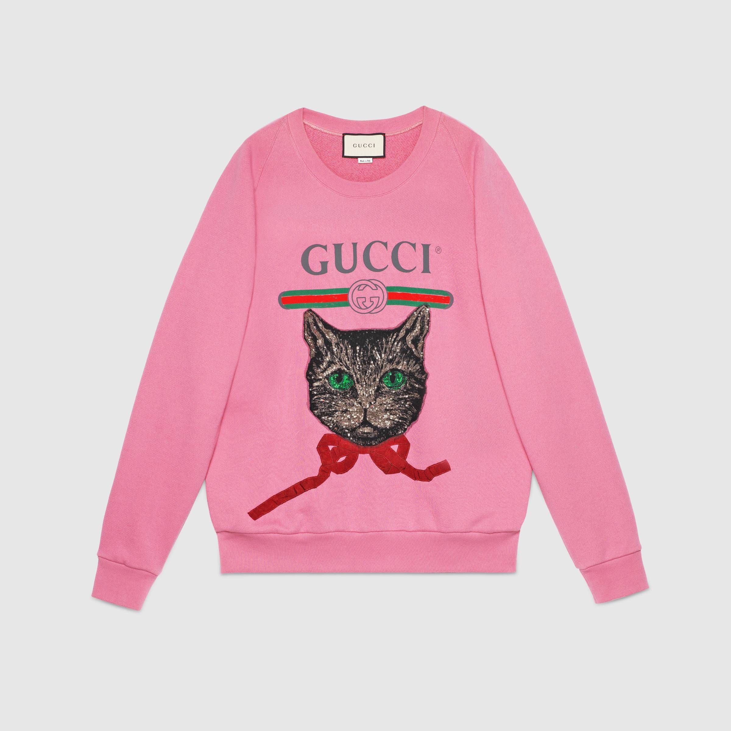 Oversize Sweatshirt With Gucci Logo And Mystic Cat In 2018