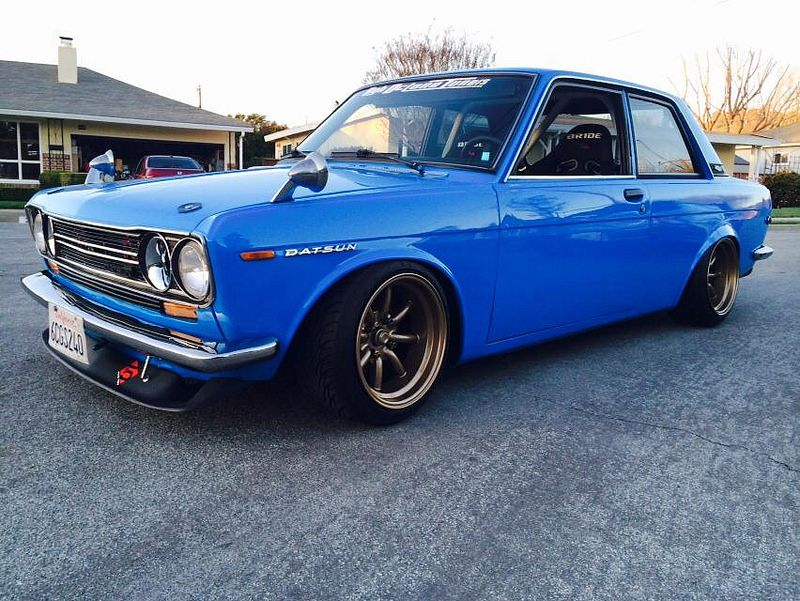 """Datsun 510. Side mirrors make it look like the old """"snoorks"""" cartoons, but still a bad little ride."""