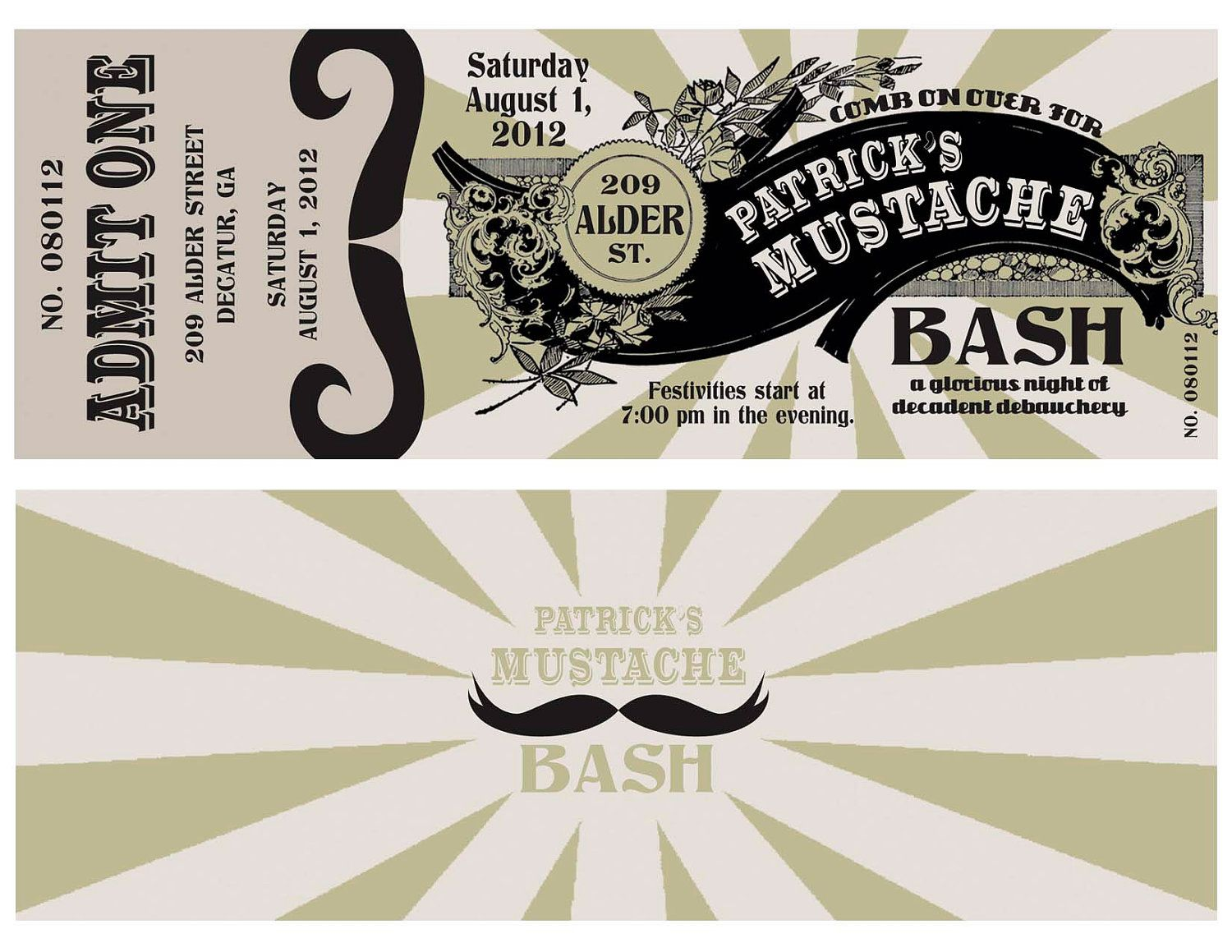 Mustache Party Invitation Ticket, Mustache Birthday Party, Mustache ...