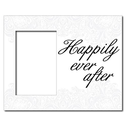 """Wedding Themed Picture Frame - Holds 4x6 Photo - """"Happily Ever After"""" - White Scroll Design VictoryStore http://www.amazon.com/dp/B00TSUJKTA/ref=cm_sw_r_pi_dp_LWpvwb17DV8T2"""
