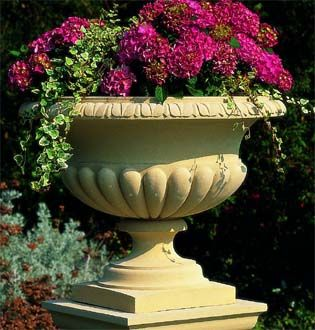 Traditional Cast Stone Garden Planter .