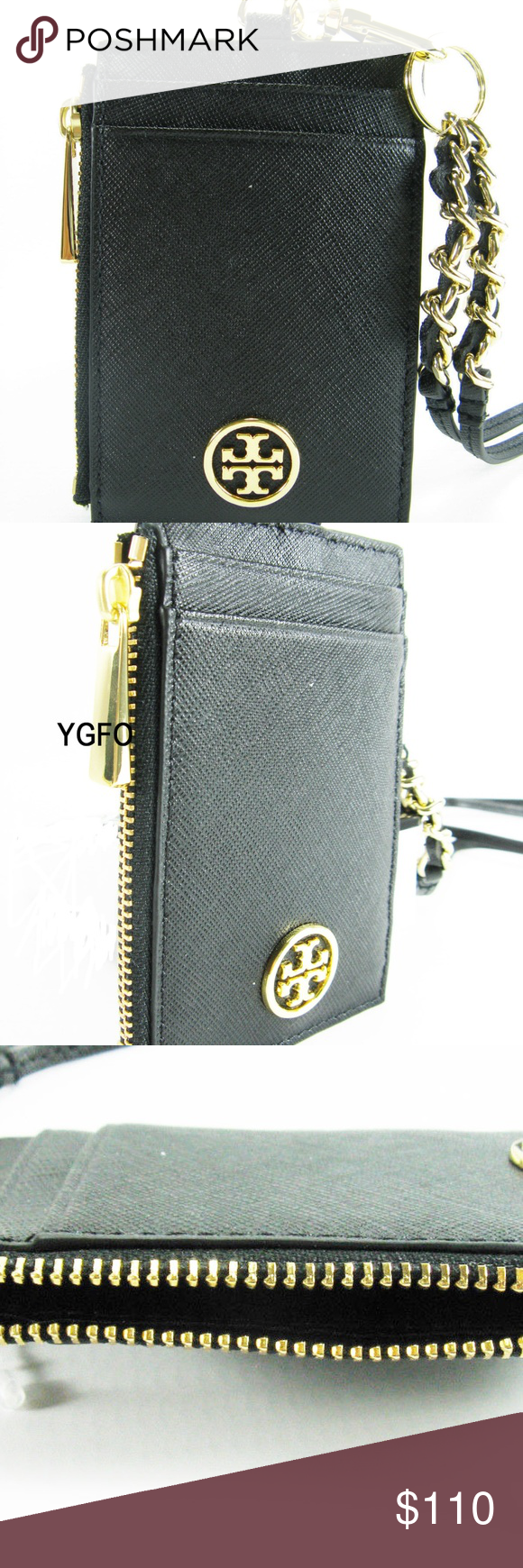 21a9204670c1 NWT Tory Burch Robinson Black Leather Lanyard NWT TORY BURCH LANYARD ID  Holder CREDIT CARD Case Wallet Black SAFFIANO LEATHER Robinson Lanyard and  Mini ...