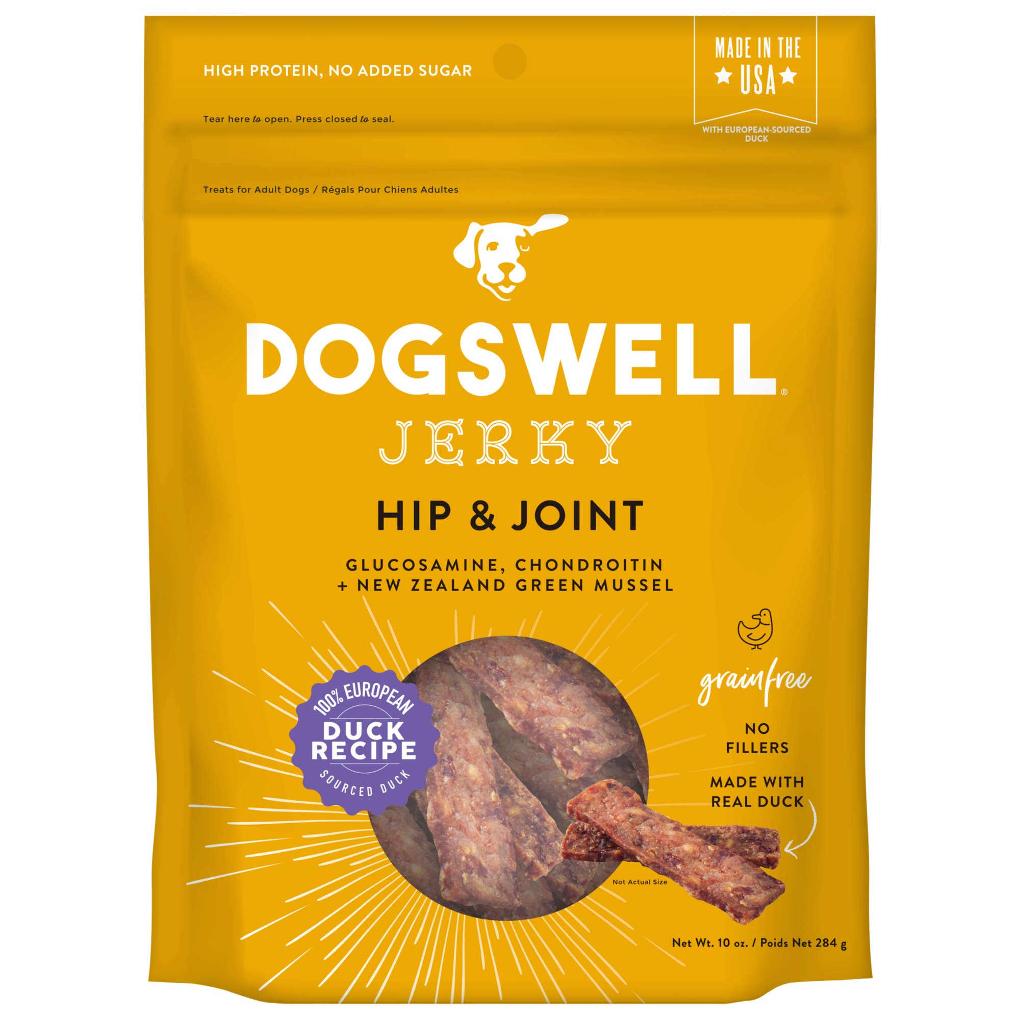 Dogswell Hip Joint Jerky Grain Free Duck Recipe For Dogs 10 Oz