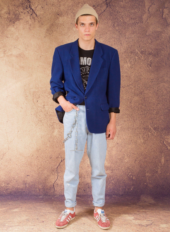 Royal Blue 80pc Wool Blend Men S 80s Blazer Vintage Etsy Black Blazer With Jeans Mens Jackets Minimalist Men
