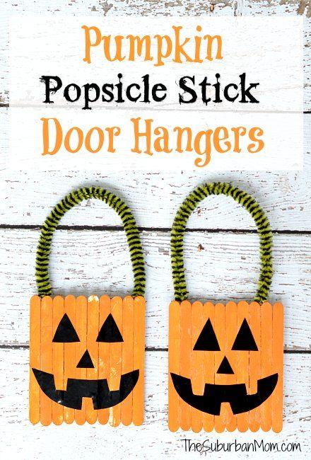 DIY Pumpkin Popsicle Stick Door Hangers! You and your kids can make these cute, homemade door hangers for Halloween.