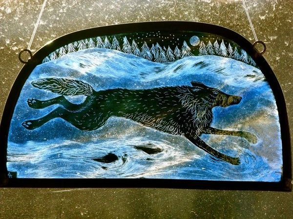 Winterwolf Glass By Tamsin Abbott Stained Glass Paint Glass