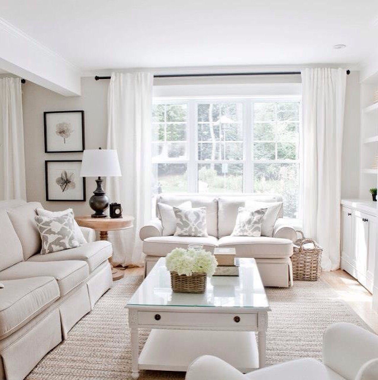 Inspirations For Transitional Living Room: Transitional Design, Modern Furnishings White Interior