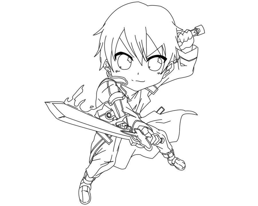 Kirito Lineart : Kirito coloring pages lineart sword art online