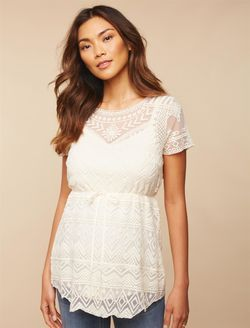 eb9784446ee7d Lace Maternity Shirt, Egret | Maternity Fashion | Pregnancy shirts ...