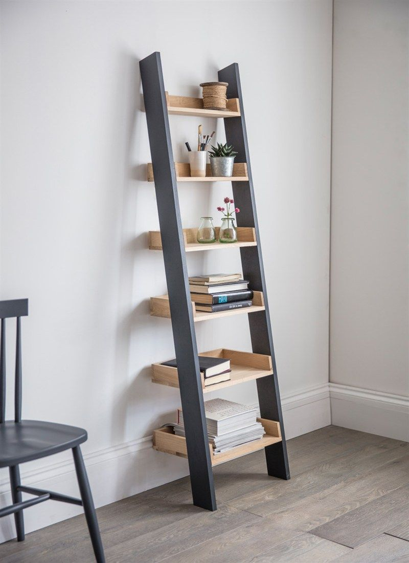 The urban mix of oak and carbon make the clockhouse shelf ladder a