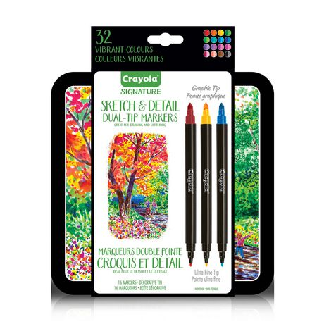 Crayola Signature Sketch And Detail Dual Tip Markers Multi