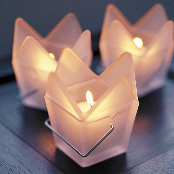 White Frosted Glass Chinese Take Out Candle Votive Holder
