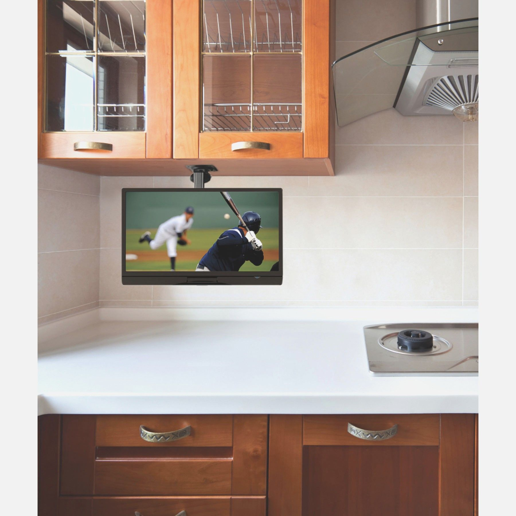 kitchen tv mount pub table set under the cabinet for best in