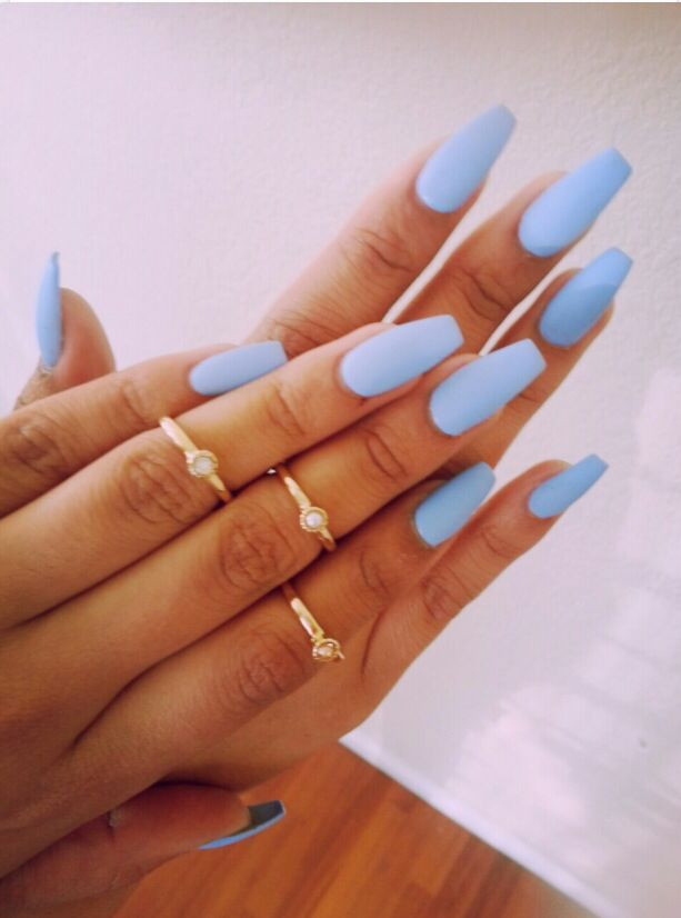 Matte baby blue nails | Nail art | Pinterest | Baby blue nails, Blue ...