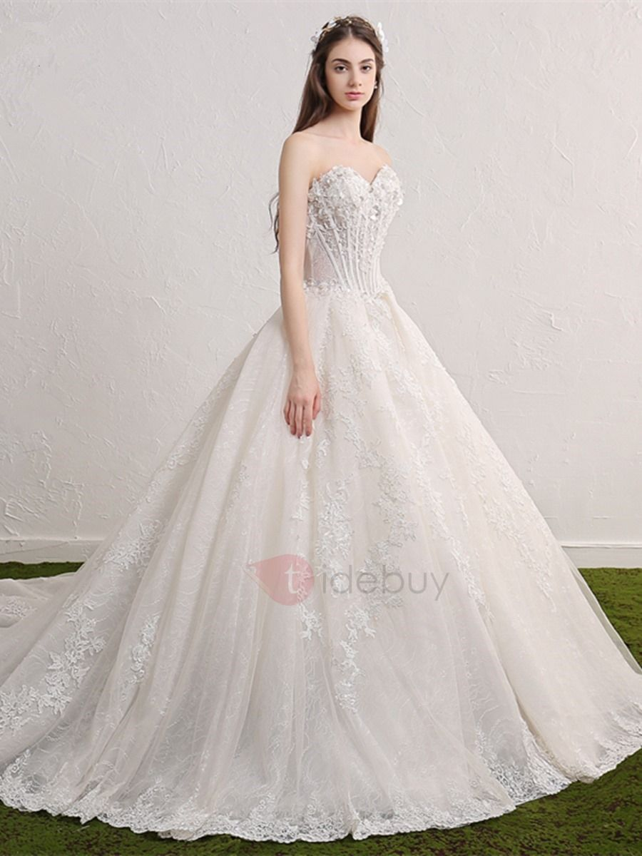 Tidebuy.com Offers High Quality Sweetheart Lace-Up Lace Appliques A Line Chapel Train Wedding Dress, We have more styles for Wedding Dresses 2016