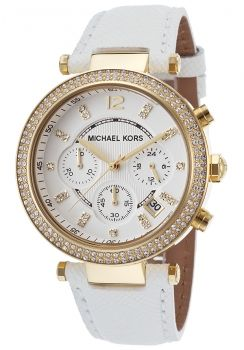 Michael Kors MK2290 Strass Gold Weiss Leder Armband Damenuhr
