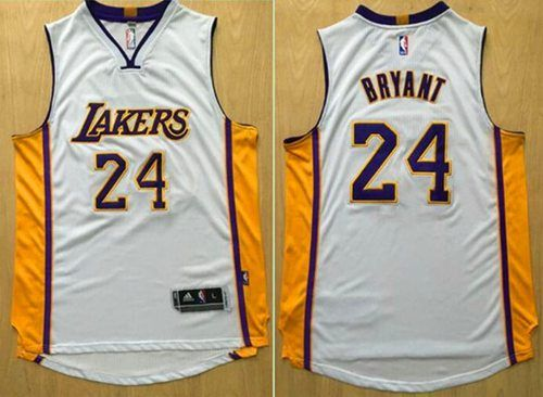 4f359f3355a9 Revolution 30 Lakers  24 Kobe Bryant White Stitched NBA Jersey