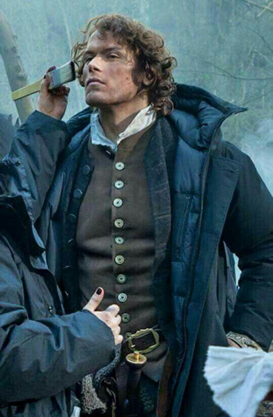 Sam being made up between the scenes. #Outlander.