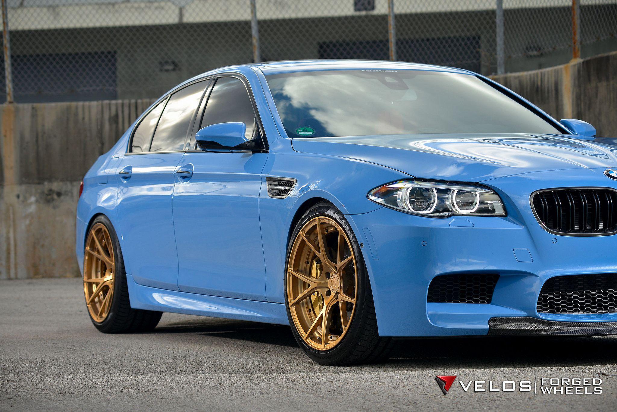 Bmw F10 M5 Sedan Velos Design Wheels Light Blue Moster