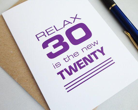 Funny 30th Birthday Card Relax 30 Is The New Twenty Purple Happy