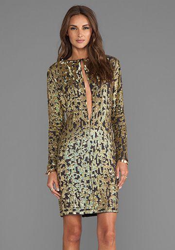 10 CROSBY DEREK LAM Digital Sequins Long Sleeve Dress