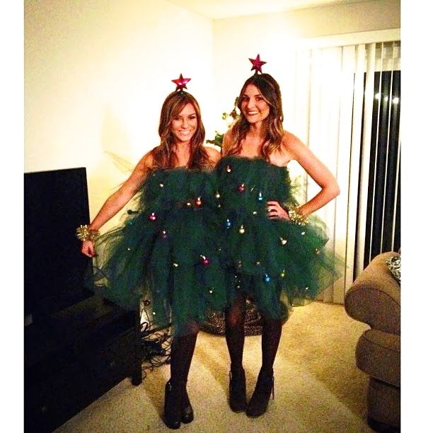 Ugly Christmas Sweaters NO MORE - it's now all about dresses! These  chickies look so - DIY Christmas Tree Costume Ugly Christmas Sweaters Pinterest