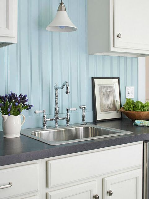 Beadboard backsplash painted blue with white cabinets for Beadboard kitchen cabinets