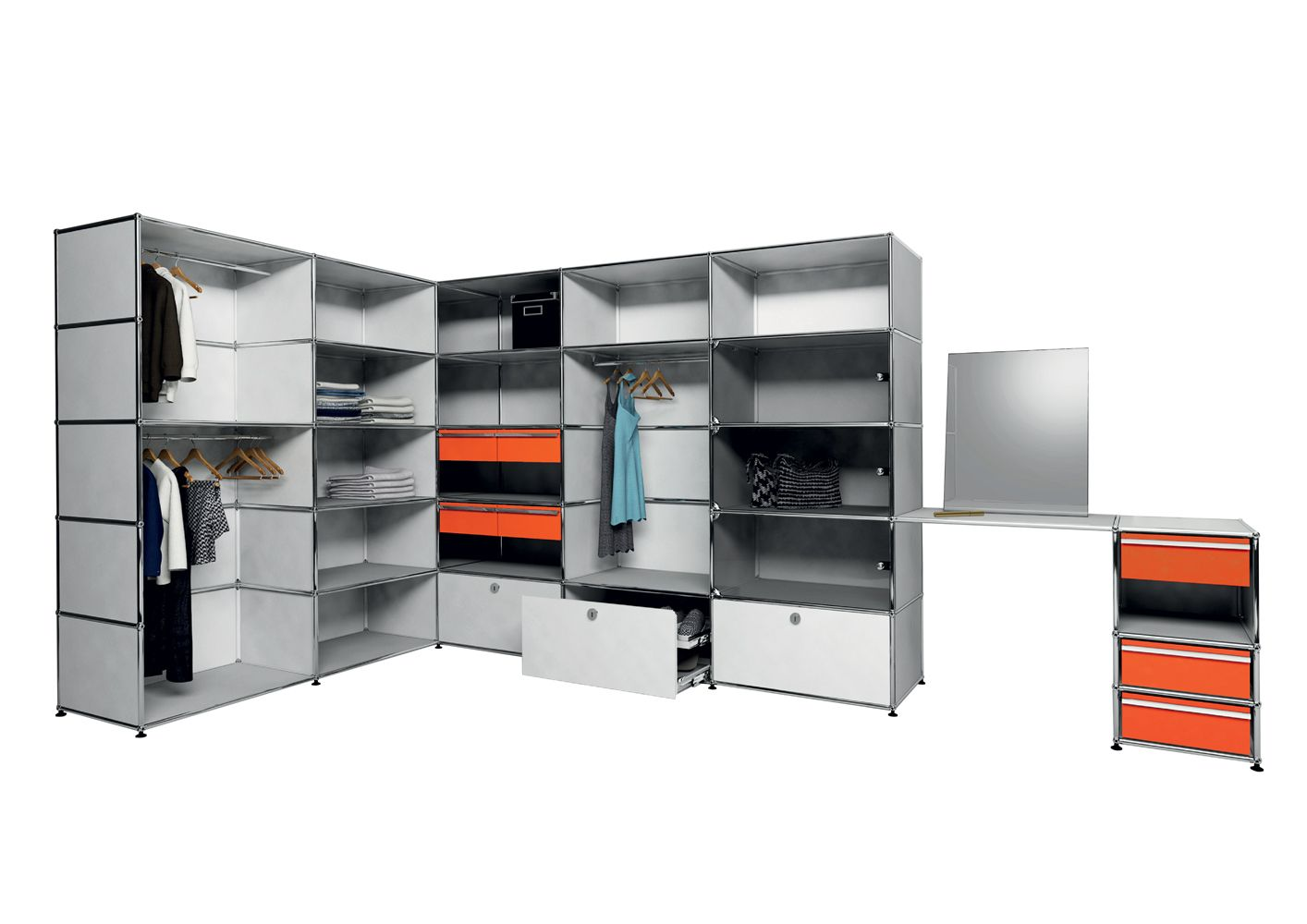 USM modular furniture wardrobe light gray  orange meuble USM Haller dressing gris clair