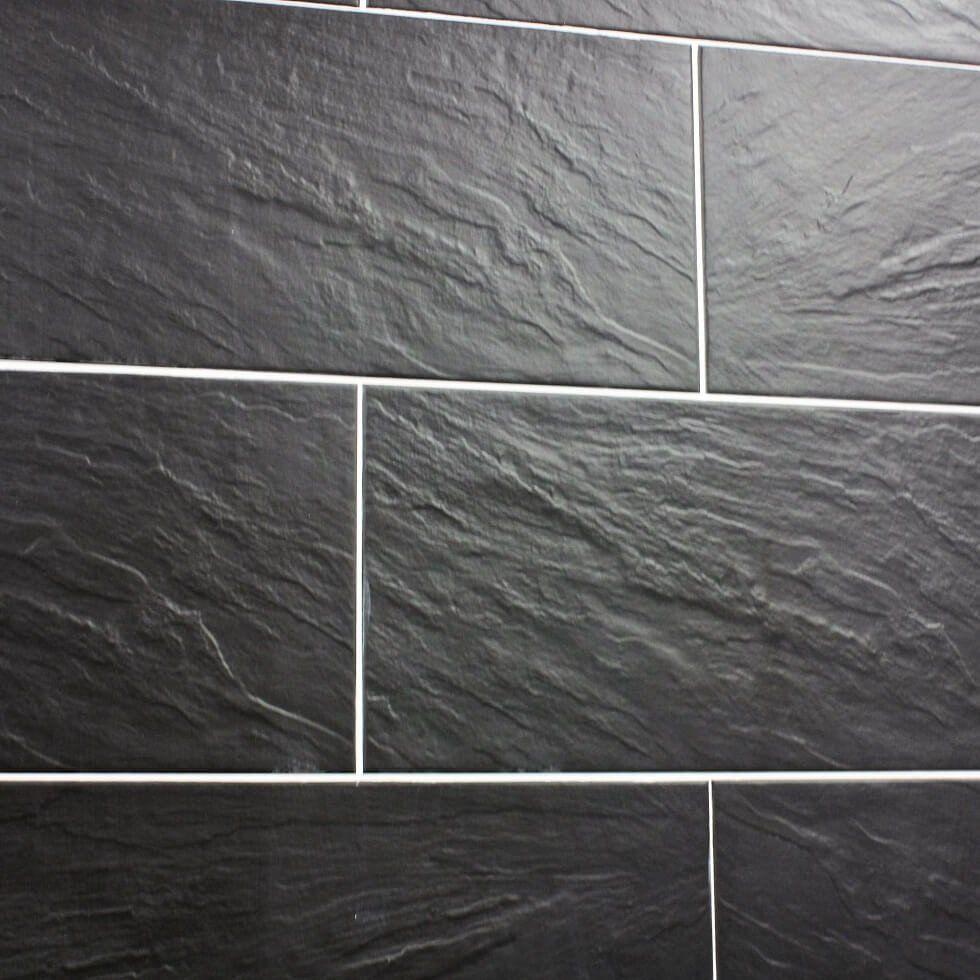 Black slate bathroom floor - Nain Black Slate Effect Tiles 30 X 60 Cm
